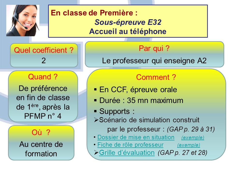 Quel coefficient ? 2 Quand ? De préférence en fin de classe de 1 ère, après la PFMP n° 4 Comment ? En CCF, épreuve orale Durée : 35 mn maximum Support
