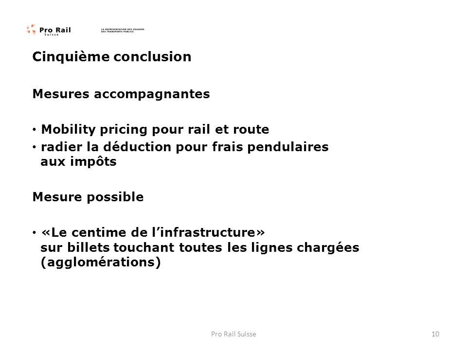Cinquième conclusion Mesures accompagnantes Mobility pricing pour rail et route radier la déduction pour frais pendulaires aux impôts Mesure possible «Le centime de linfrastructure» sur billets touchant toutes les lignes chargées (agglomérations) 10Pro Rail Suisse