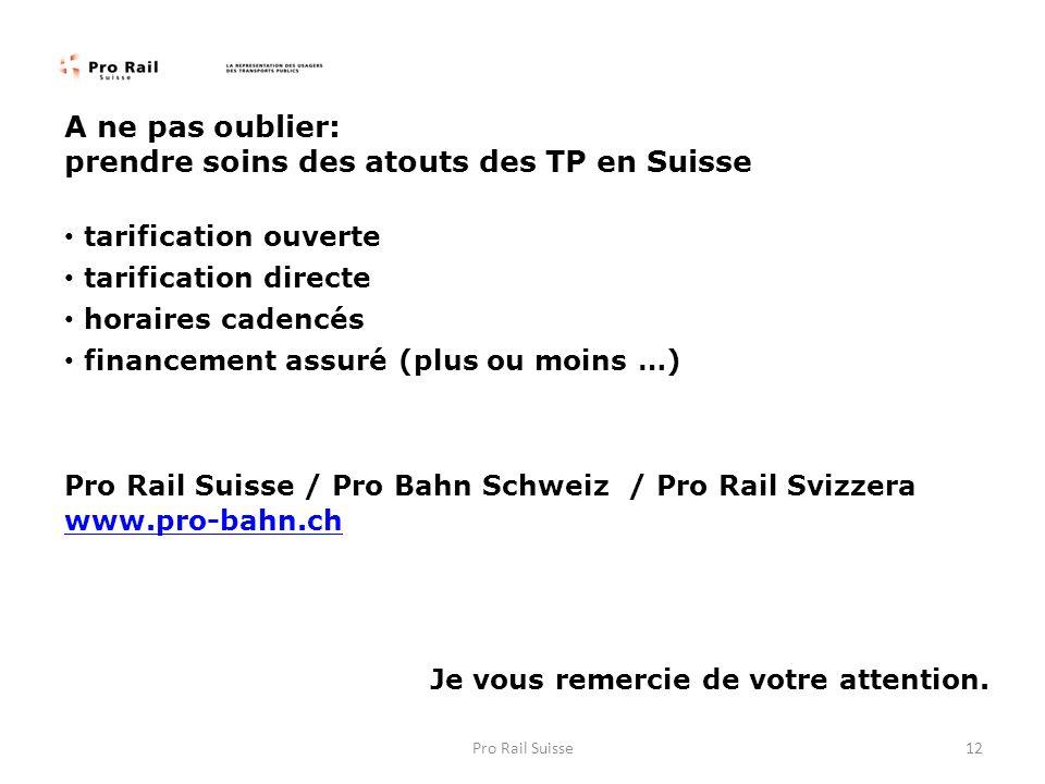 A ne pas oublier: prendre soins des atouts des TP en Suisse tarification ouverte tarification directe horaires cadencés financement assuré (plus ou moins …) Pro Rail Suisse / Pro Bahn Schweiz / Pro Rail Svizzera www.pro-bahn.ch www.pro-bahn.ch Je vous remercie de votre attention.