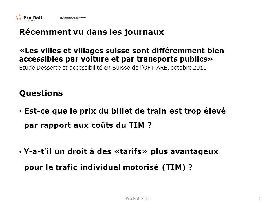 Récemment vu dans les journaux «Les villes et villages suisse sont différemment bien accessibles par voiture et par transports publics» Etude Desserte