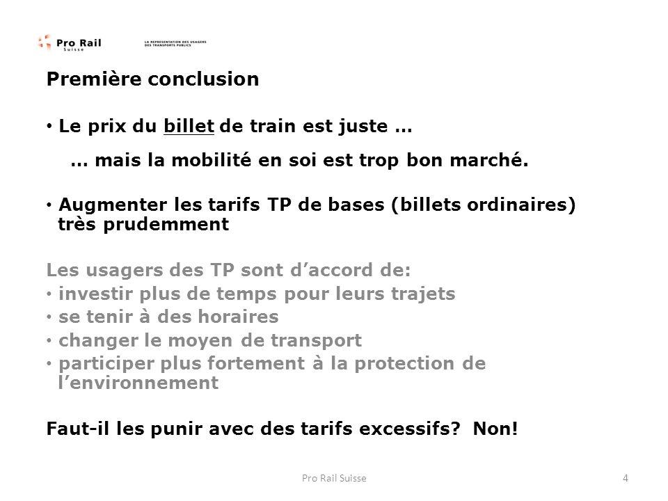 Première conclusion Le prix du billet de train est juste … … mais la mobilité en soi est trop bon marché. Augmenter les tarifs TP de bases (billets or