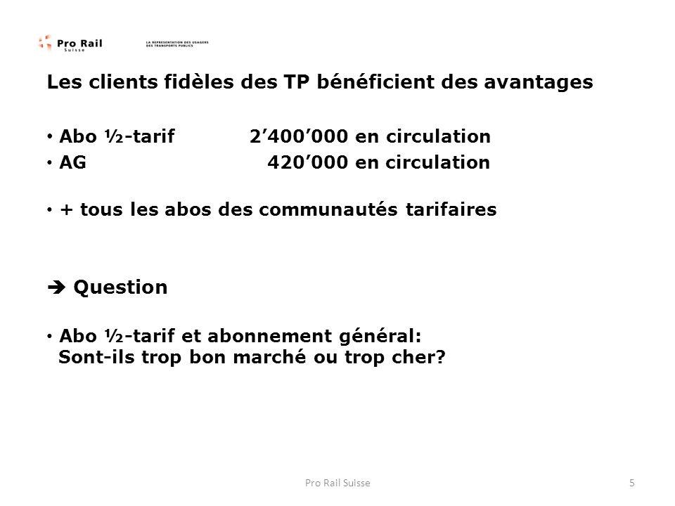 Les clients fidèles des TP bénéficient des avantages Abo ½-tarif2400000 en circulation AG 420000 en circulation + tous les abos des communautés tarifa