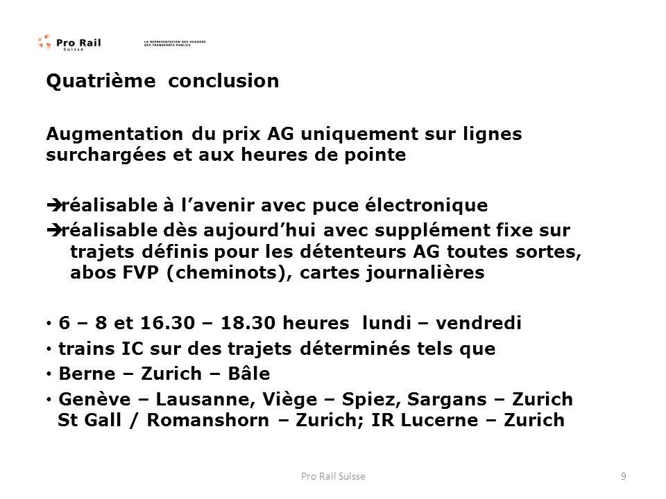 Quatrième conclusion Augmentation du prix AG uniquement sur lignes surchargées et aux heures de pointe réalisable à lavenir avec puce électronique réalisable dès aujourdhui avec supplément fixe sur trajets définis pour les détenteurs AG toutes sortes, abos FVP (cheminots), cartes journalières 6 – 8 et 16.30 – 18.30 heures lundi – vendredi trains IC sur des trajets déterminés tels que Berne – Zurich – Bâle Genève – Lausanne, Viège – Spiez, Sargans – Zurich St Gall / Romanshorn – Zurich; IR Lucerne – Zurich 9Pro Rail Suisse