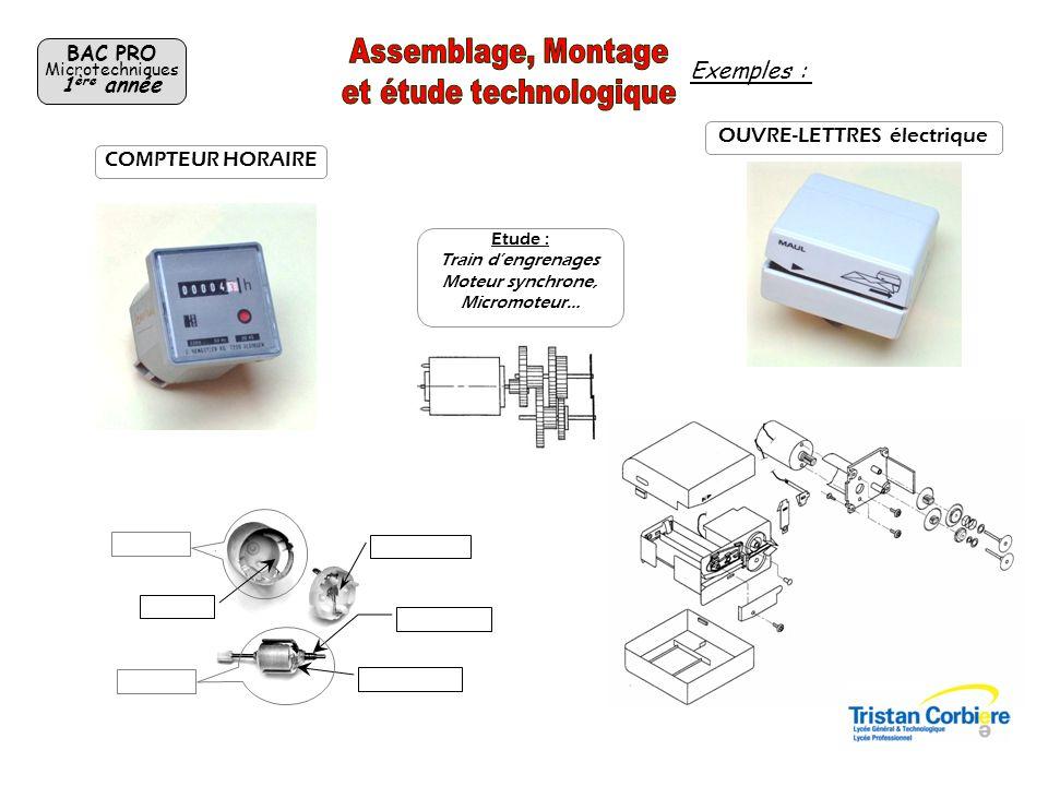 BAC PRO Microtechniques 1 ère année OUVRE-LETTRES électrique Etude : Train dengrenages Moteur synchrone, Micromoteur… COMPTEUR HORAIRE Exemples :
