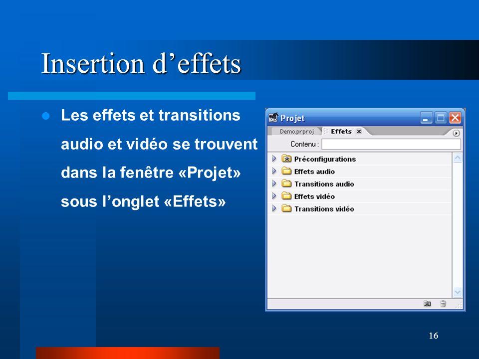 16 Insertion deffets Les effets et transitions audio et vidéo se trouvent dans la fenêtre «Projet» sous longlet «Effets»