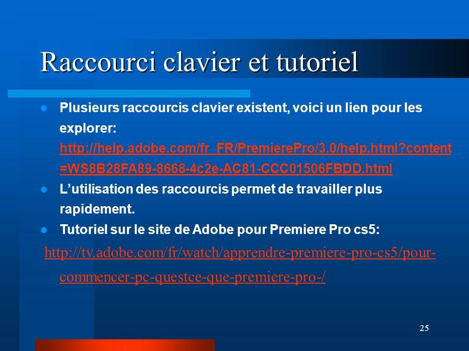 25 Raccourci clavier et tutoriel Plusieurs raccourcis clavier existent, voici un lien pour les explorer: http://help.adobe.com/fr_FR/PremierePro/3.0/help.html?content =WS8B28FA89-8668-4c2e-AC81-CCC01506FBDD.html http://help.adobe.com/fr_FR/PremierePro/3.0/help.html?content =WS8B28FA89-8668-4c2e-AC81-CCC01506FBDD.html Lutilisation des raccourcis permet de travailler plus rapidement.