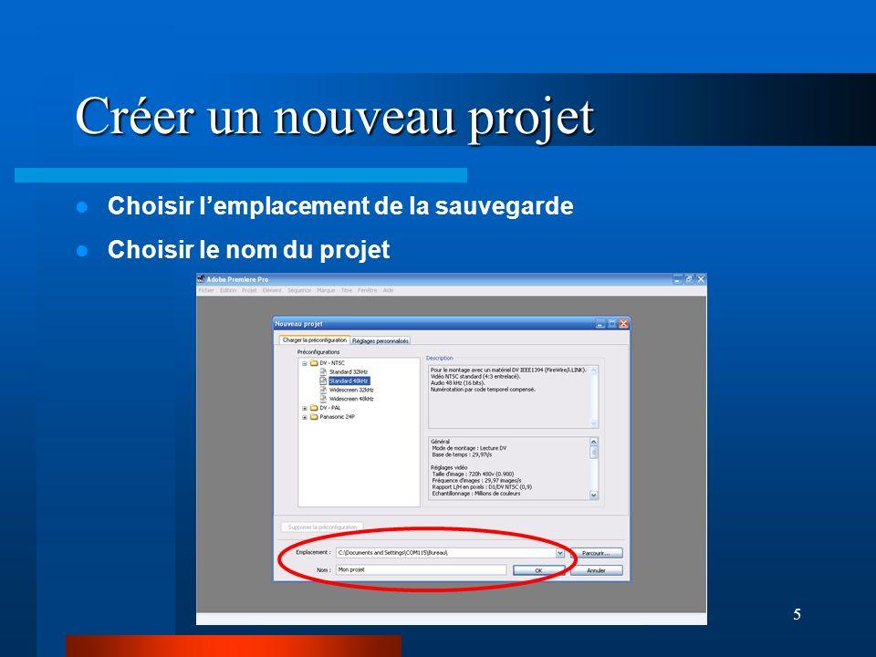 5 Créer un nouveau projet Choisir lemplacement de la sauvegarde Choisir le nom du projet