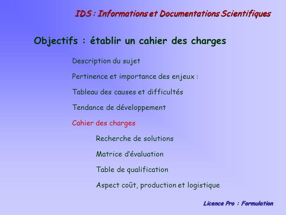 IDS : Informations et Documentations Scientifiques Licence Pro : Formulation Objectifs : établir un cahier des charges Description du sujet Pertinence