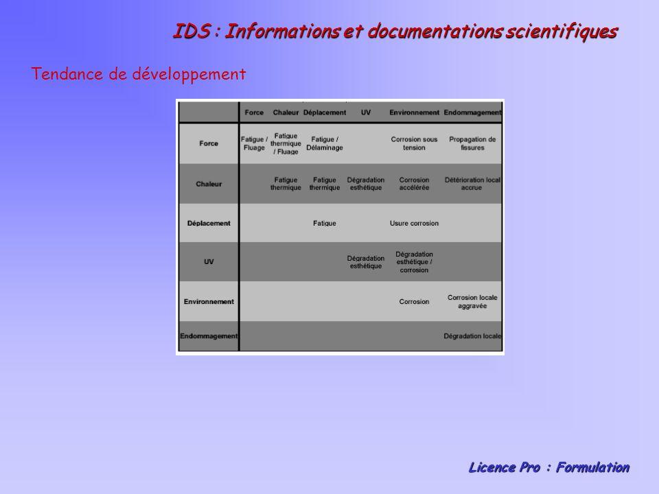 IDS : Informations et documentations scientifiques Licence Pro : Formulation Présentation des principaux résultats Attribution des notes aux matériaux sélectionnés