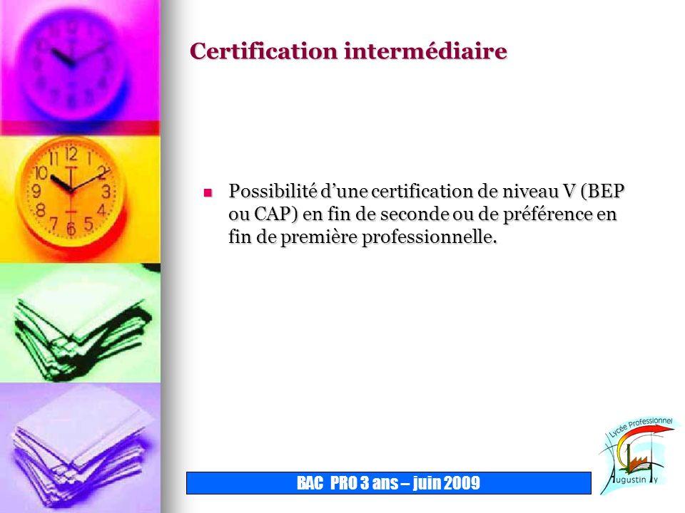 Certification intermédiaire Possibilité dune certification de niveau V (BEP ou CAP) en fin de seconde ou de préférence en fin de première professionne
