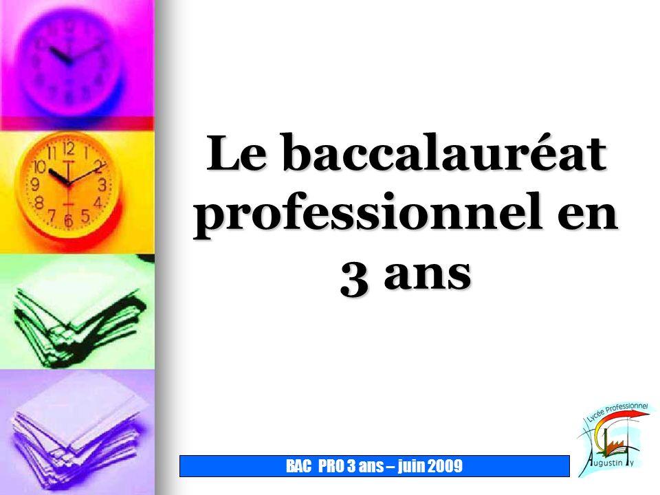Le baccalauréat professionnel en 3 ans BAC PRO 3 ans – juin 2009