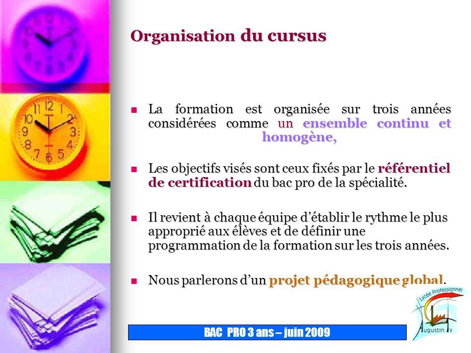 Organisation du cursus La formation est organisée sur trois années considérées comme un ensemble continu et homogène, Les objectifs visés sont ceux fi