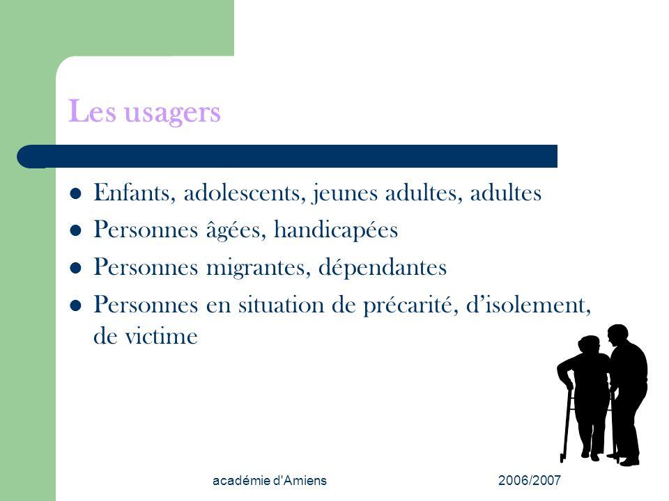 académie d'Amiens2006/2007 Les usagers Enfants, adolescents, jeunes adultes, adultes Personnes âgées, handicapées Personnes migrantes, dépendantes Per