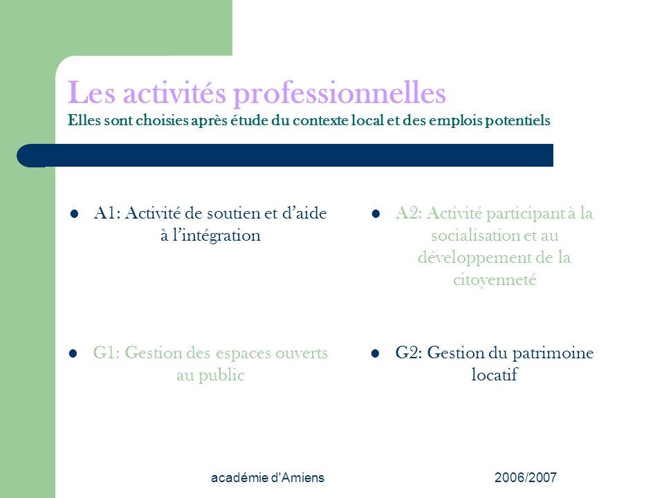 académie d'Amiens2006/2007 Les activités professionnelles Elles sont choisies après étude du contexte local et des emplois potentiels A1: Activité de