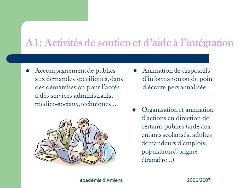 académie d'Amiens2006/2007 A1: Activités de soutien et daide à lintégration Accompagnement de publics aux demandes spécifiques, dans des démarches ou