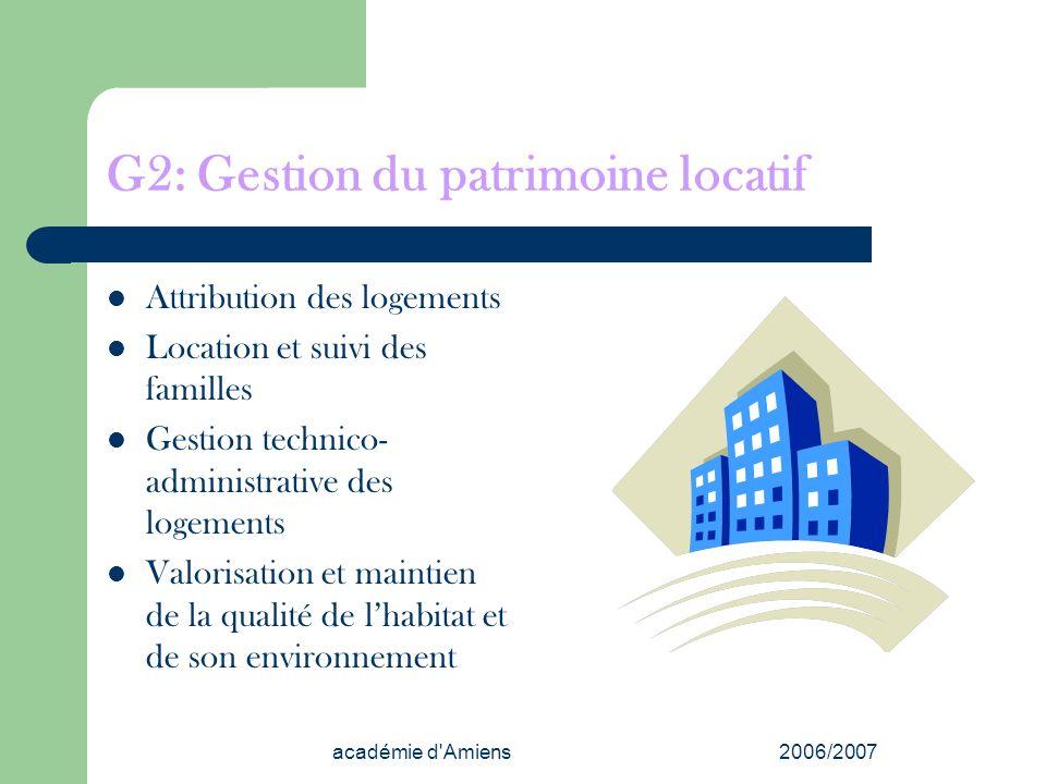 académie d'Amiens2006/2007 G2: Gestion du patrimoine locatif Attribution des logements Location et suivi des familles Gestion technico- administrative