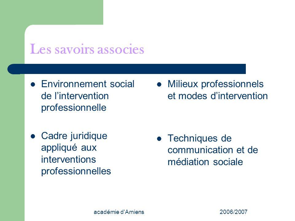 académie d'Amiens2006/2007 Les savoirs associes Environnement social de lintervention professionnelle Cadre juridique appliqué aux interventions profe