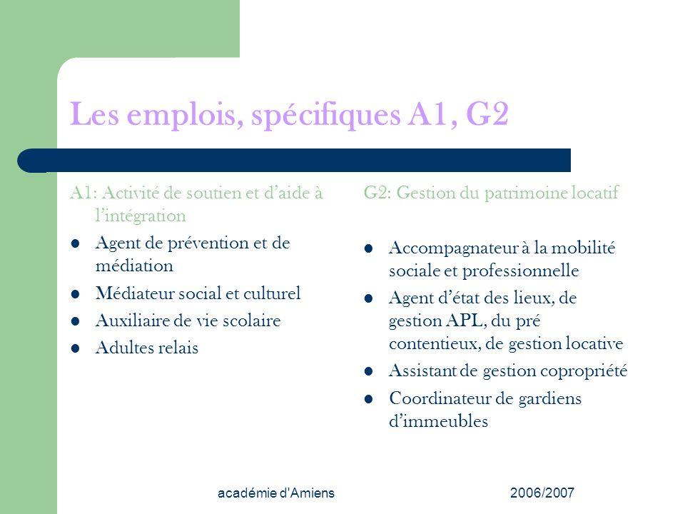 académie d'Amiens2006/2007 Les emplois, spécifiques A1, G2 A1: Activité de soutien et daide à lintégration Agent de prévention et de médiation Médiate