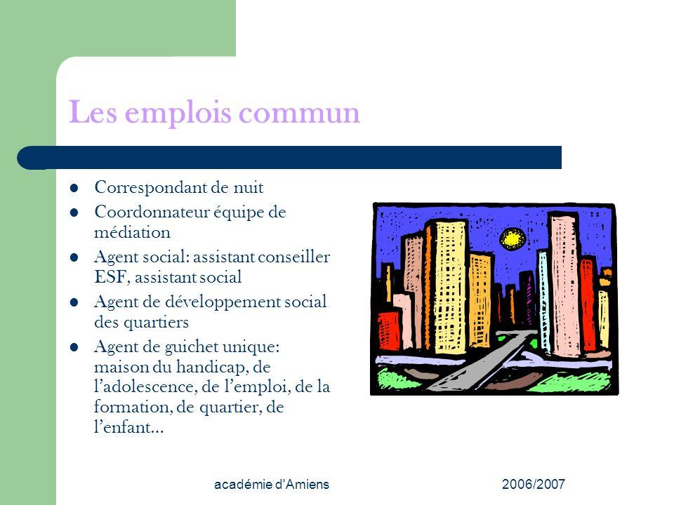 académie d'Amiens2006/2007 Les emplois commun Correspondant de nuit Coordonnateur équipe de médiation Agent social: assistant conseiller ESF, assistan