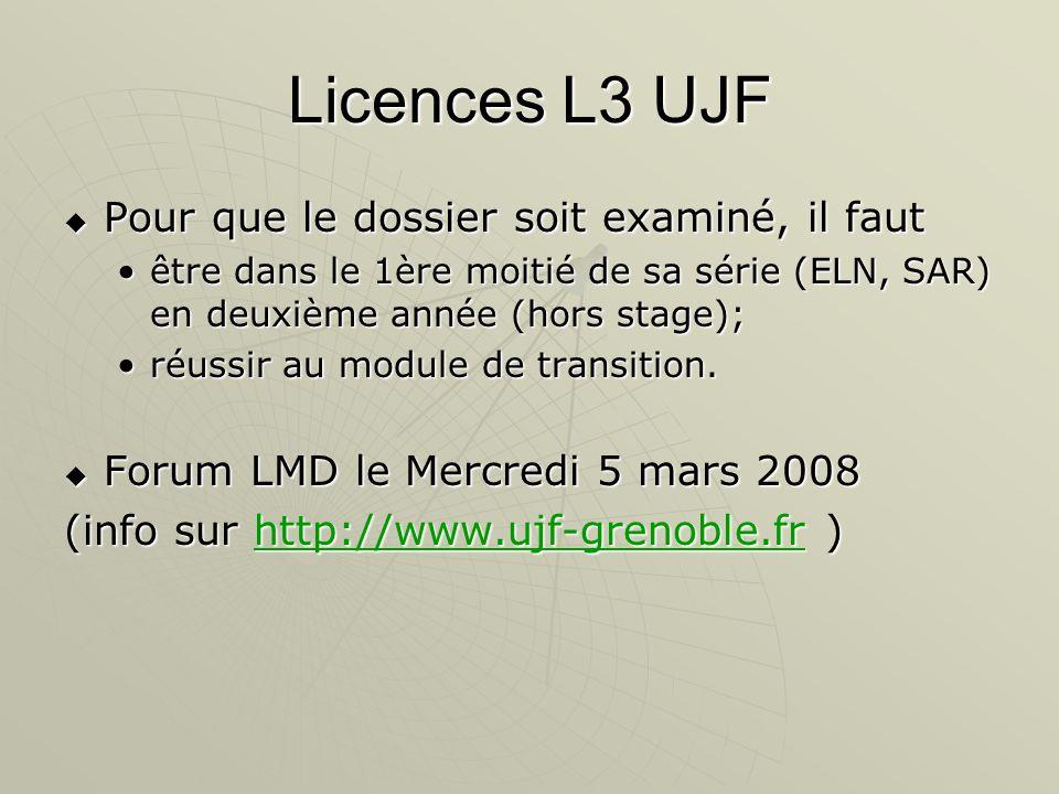 Licences L3 UJF Pour que le dossier soit examiné, il faut Pour que le dossier soit examiné, il faut être dans le 1ère moitié de sa série (ELN, SAR) en