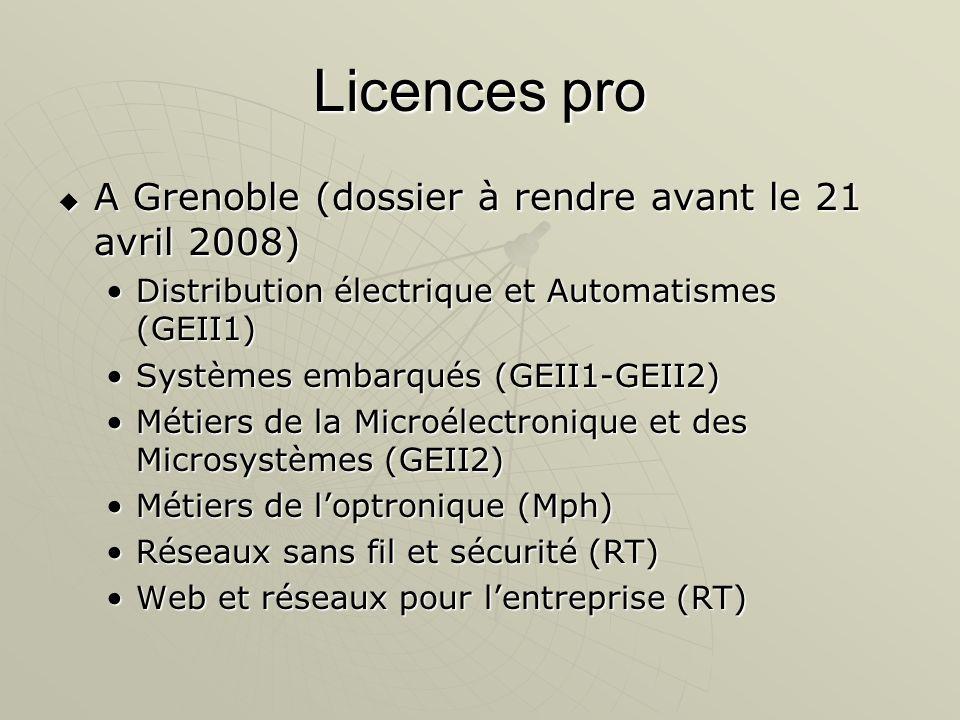Licences pro A Grenoble (dossier à rendre avant le 21 avril 2008) A Grenoble (dossier à rendre avant le 21 avril 2008) Distribution électrique et Auto