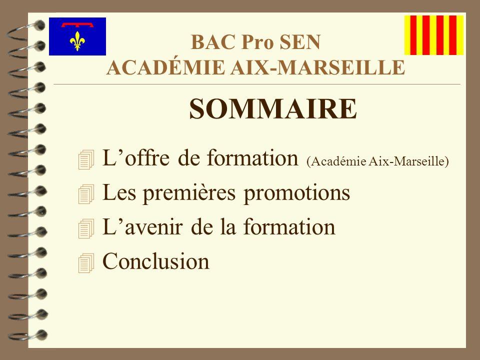 SOMMAIRE 4 Loffre de formation (Académie Aix-Marseille) 4 Les premières promotions 4 Lavenir de la formation 4 Conclusion BAC Pro SEN ACADÉMIE AIX-MAR