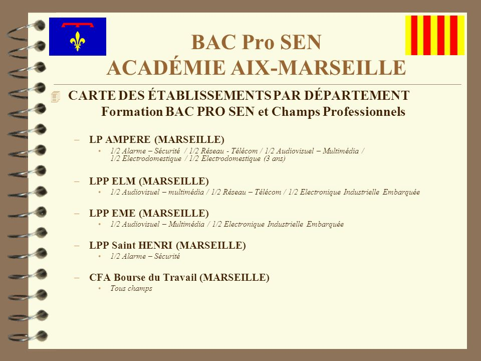 4 CARTE DES ÉTABLISSEMENTS PAR DÉPARTEMENT Formation BAC PRO SEN et Champs Professionnels –LP AMPERE (MARSEILLE) 1/2 Alarme – Sécurité / 1/2 Réseau -