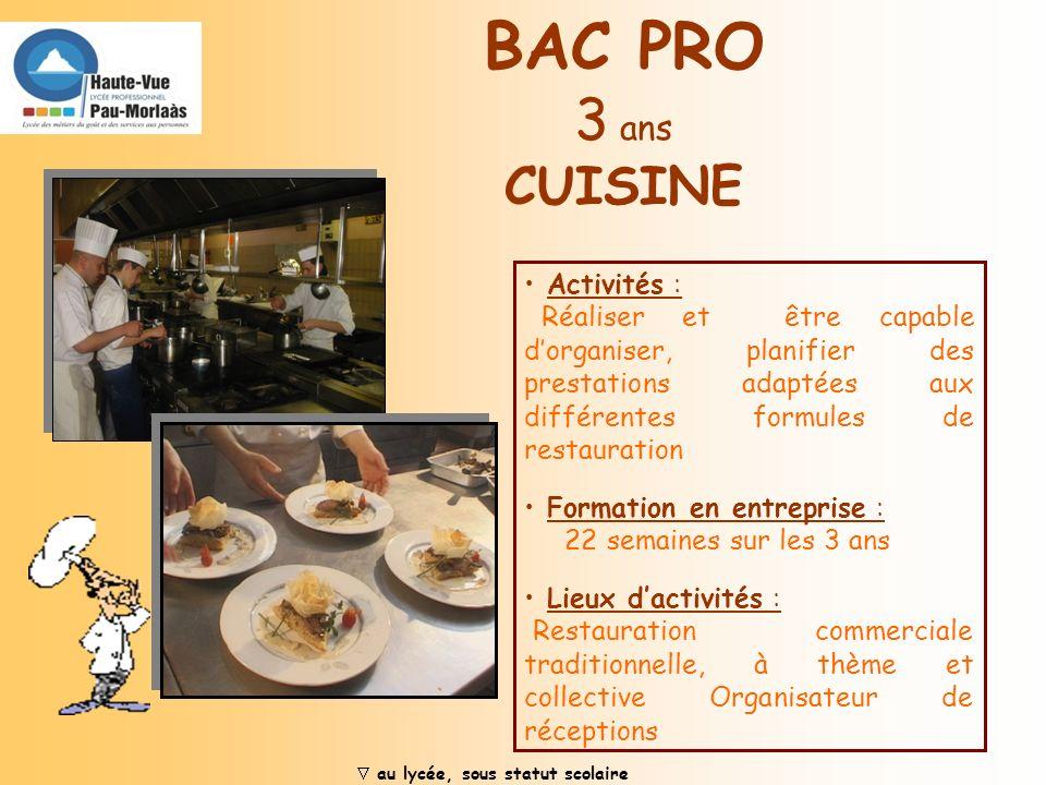 Activités : Responsable dune brigade de salle. Organisation de repas et de banquets Formation en entreprise : 22 semaines sur les 3 ans Lieux dactivit