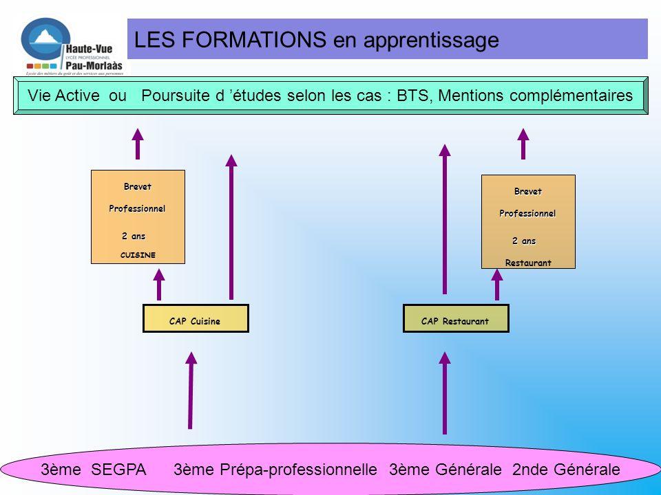 LES FORMATIONS sous statut scolaire 3ème SEGPA 3ème Prépa-professionnelle 3ème Générale 2nde Générale CAP Cuisine CAP Agent Polyvalent de Restauration