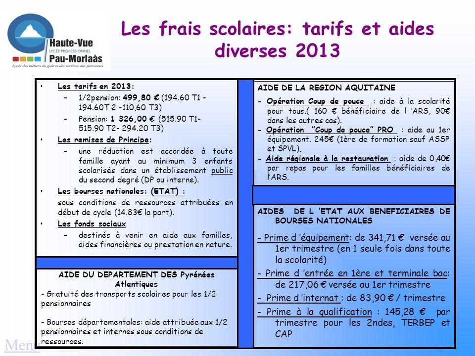 Les transports Élèves demi-pensionnaires: - Gratuité des bus: mise en place par le Conseil Général des Pyrénées Atlantiques (CITRAM ou TPR ou réseau I