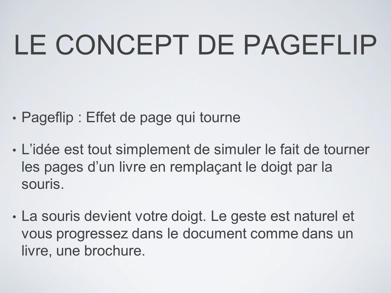 LE CONCEPT DE PAGEFLIP Pageflip : Effet de page qui tourne Lidée est tout simplement de simuler le fait de tourner les pages dun livre en remplaçant l
