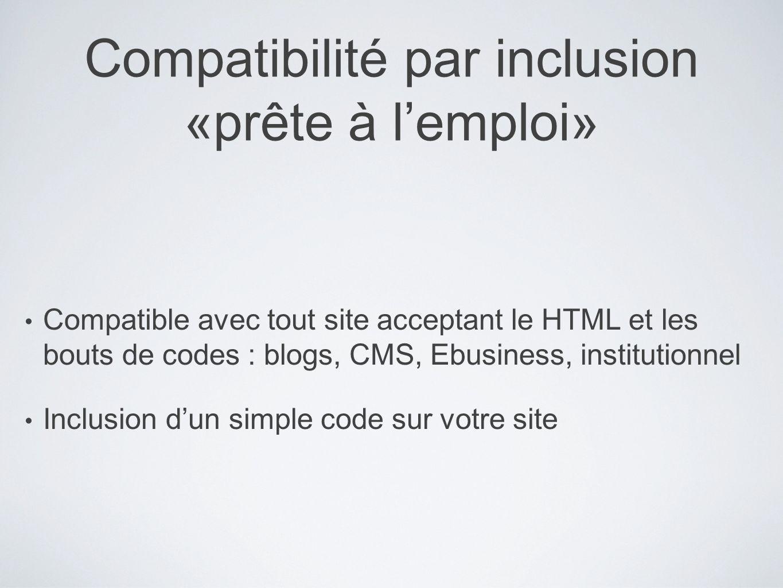 Compatibilité par inclusion «prête à lemploi» Compatible avec tout site acceptant le HTML et les bouts de codes : blogs, CMS, Ebusiness, institutionne