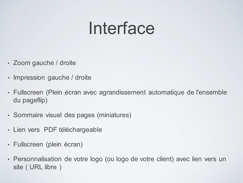 Interface Zoom gauche / droite Impression gauche / droite Fullscreen (Plein écran avec agrandissement automatique de l'ensemble du pageflip) Sommaire