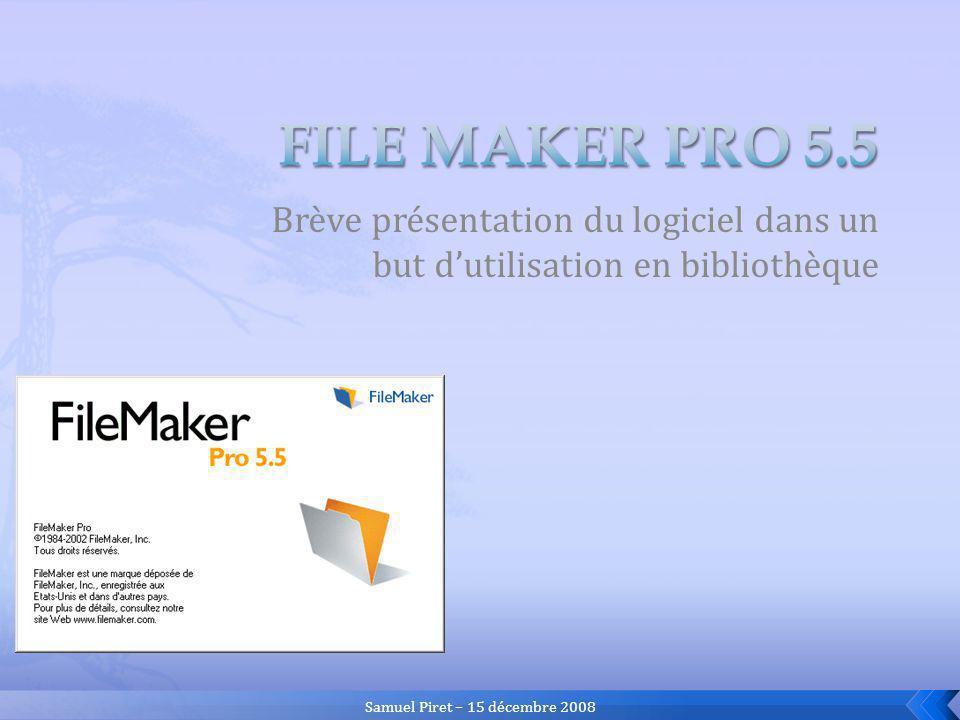 15/12/2008Présentation de FileMaker Pro13 Fichier principal bibliographique « biblio.fp5 » Fichier des vedettes-auteurs « auteurs.fp5 » Fichier des mots- clés « motscles.fp5 » Fichier des lecteurs « lecteurs.fp5 » Fichier des prêts « prets.fp5 »
