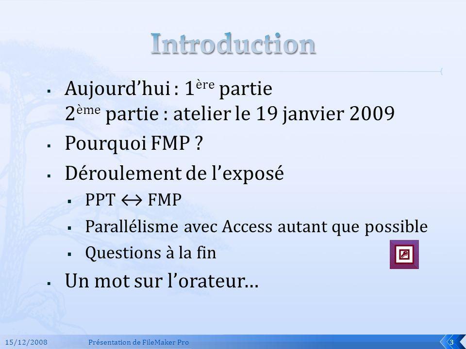 Aujourdhui : 1 ère partie 2 ème partie : atelier le 19 janvier 2009 Pourquoi FMP ? Déroulement de lexposé PPT FMP Parallélisme avec Access autant que
