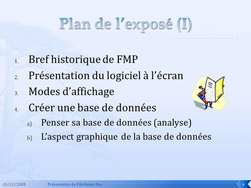 1. Bref historique de FMP 2. Présentation du logiciel à lécran 3. Modes daffichage 4. Créer une base de données a) Penser sa base de données (analyse)