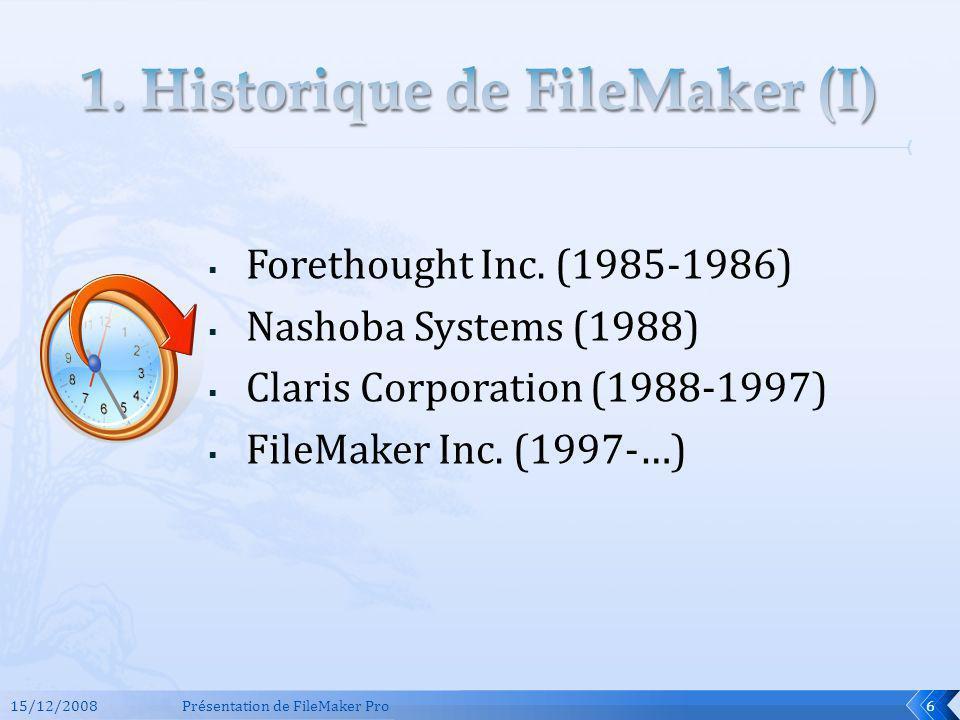 Evolution des versions (1.0 9.0v3) Différents noms et numérotations FileMaker « PRO » depuis 1990 Raisons du choix de la version utilisée dans cette présentation (5.5) 15/12/2008Présentation de FileMaker Pro7