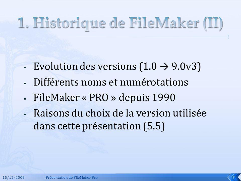 15/12/2008Présentation de FileMaker Pro8 Evolution des versions de FileMaker Au final, pas de différences de fonctionnement FONDAMENTALES – le principe et lutilisation basique restent les mêmes