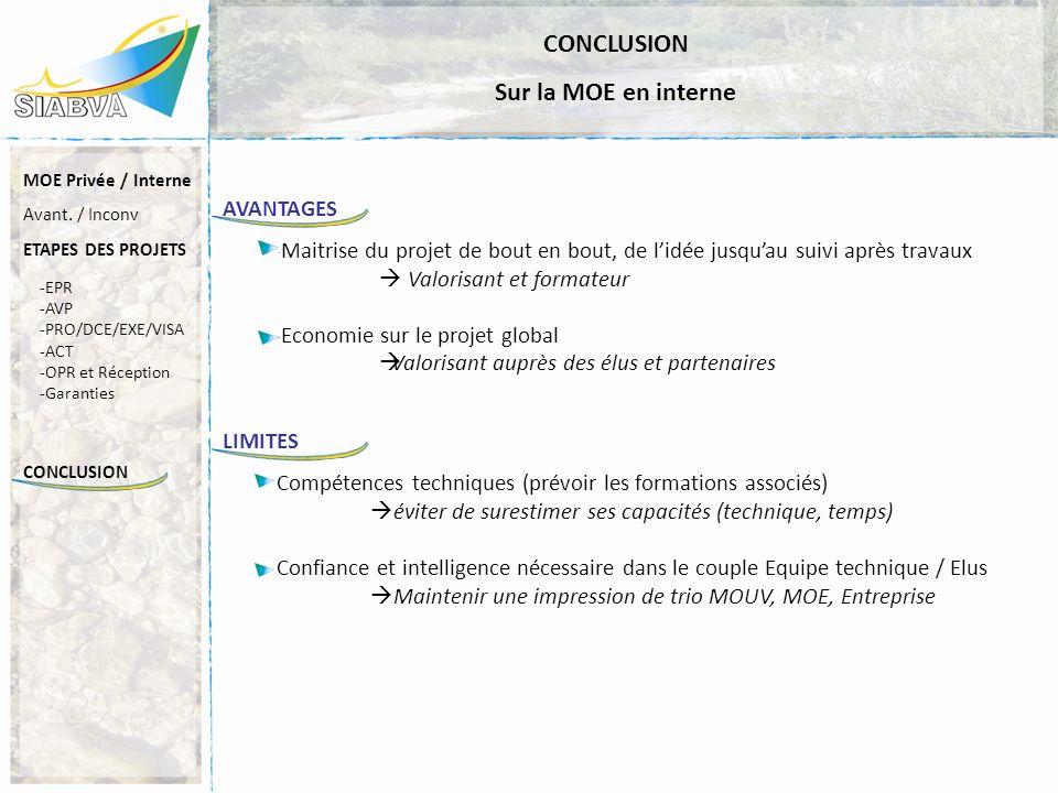 CONCLUSION -EPR -AVP -PRO/DCE/EXE/VISA -ACT -OPR et Réception -Garanties MOE Privée / Interne Avant. / Inconv ETAPES DES PROJETS CONCLUSION Sur la MOE