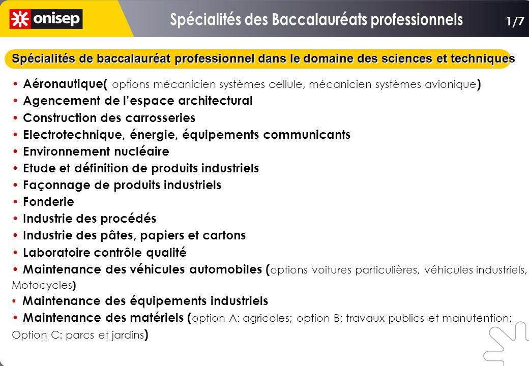 Spécialités de baccalauréat professionnel dans le domaine des sciences et techniques Aéronautique( options mécanicien systèmes cellule, mécanicien sys
