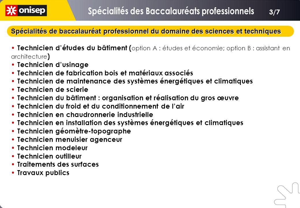 Spécialités de baccalauréat professionnel du domaine des sciences et techniques Technicien détudes du bâtiment ( option A : études et économie; option
