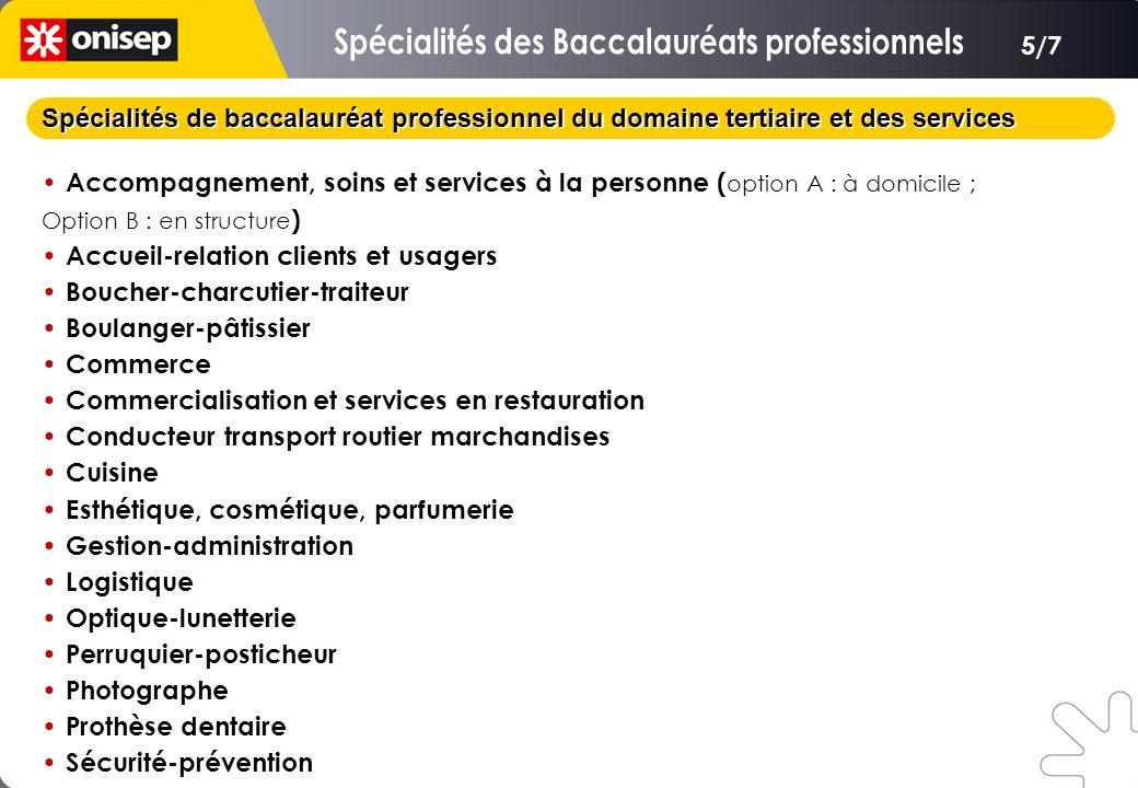 Spécialités de baccalauréat professionnel du domaine tertiaire et des services Accompagnement, soins et services à la personne ( option A : à domicile