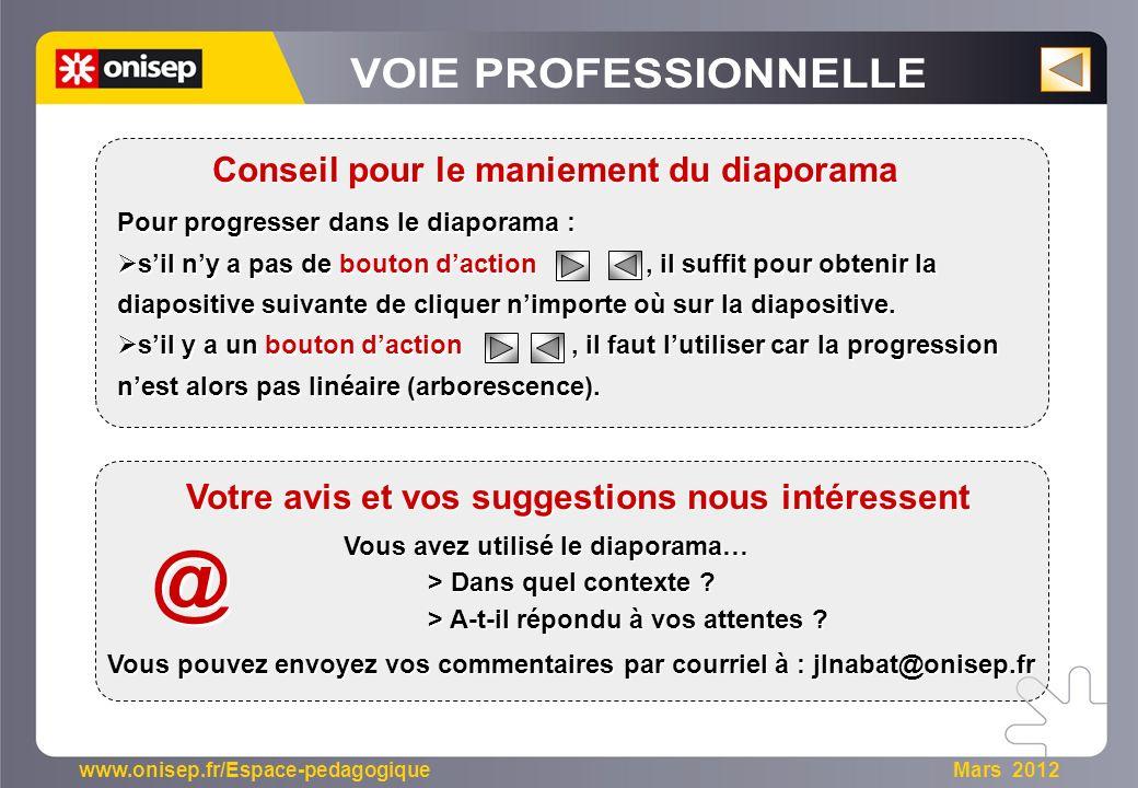 www.onisep.fr/Espace-pedagogique Mars 2012 Pour progresser dans le diaporama : sil ny a pas de bouton daction, il suffit pour obtenir la diapositive s