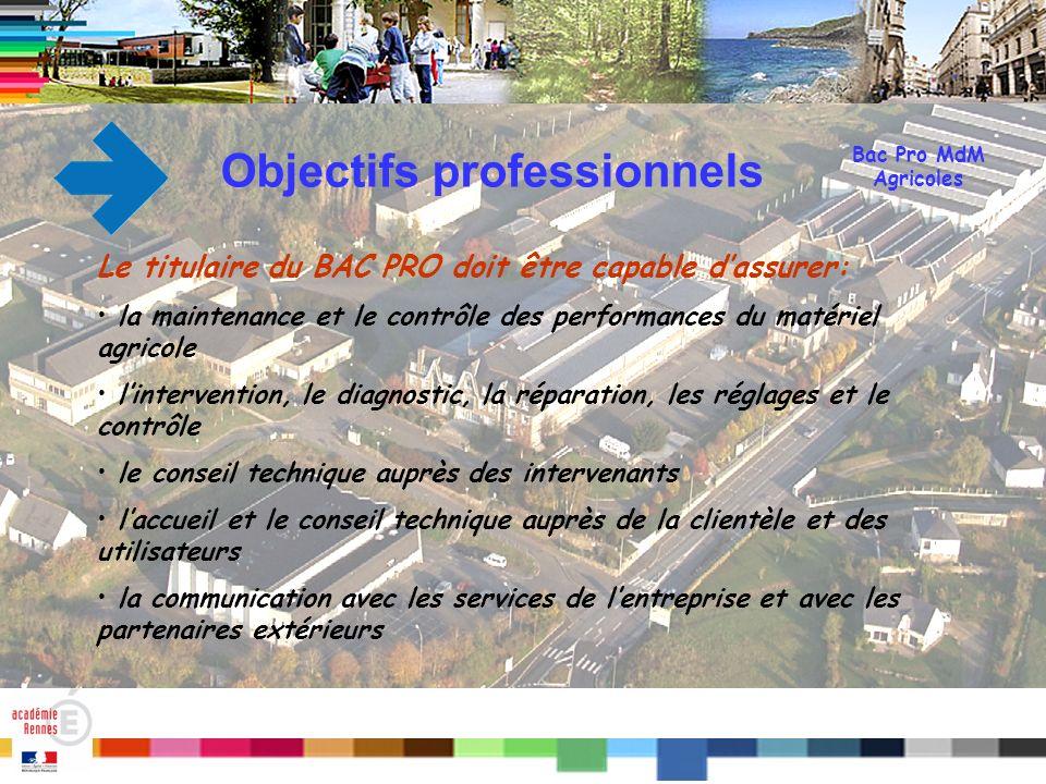 Titre Bac Pro MdM Agricoles Objectifs professionnels Le titulaire du BAC PRO doit être capable dassurer: la maintenance et le contrôle des performance