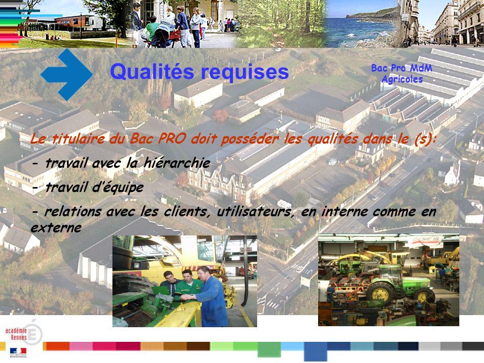 Titre Qualités requises Le titulaire du Bac PRO doit posséder les qualités dans le (s): - travail avec la hiérarchie - travail déquipe - relations ave