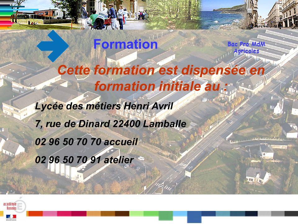 Titre Bac Pro MdM Agricoles Formation Cette formation est dispensée en formation initiale au : Lycée des métiers Henri Avril 7, rue de Dinard 22400 La