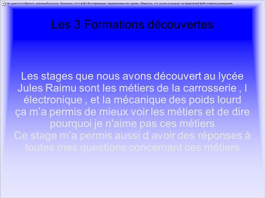 Les 3 Formations découvertes Les stages que nous avons découvert au lycée Jules Raimu sont les métiers de la carrosserie, l électronique, et la mécani