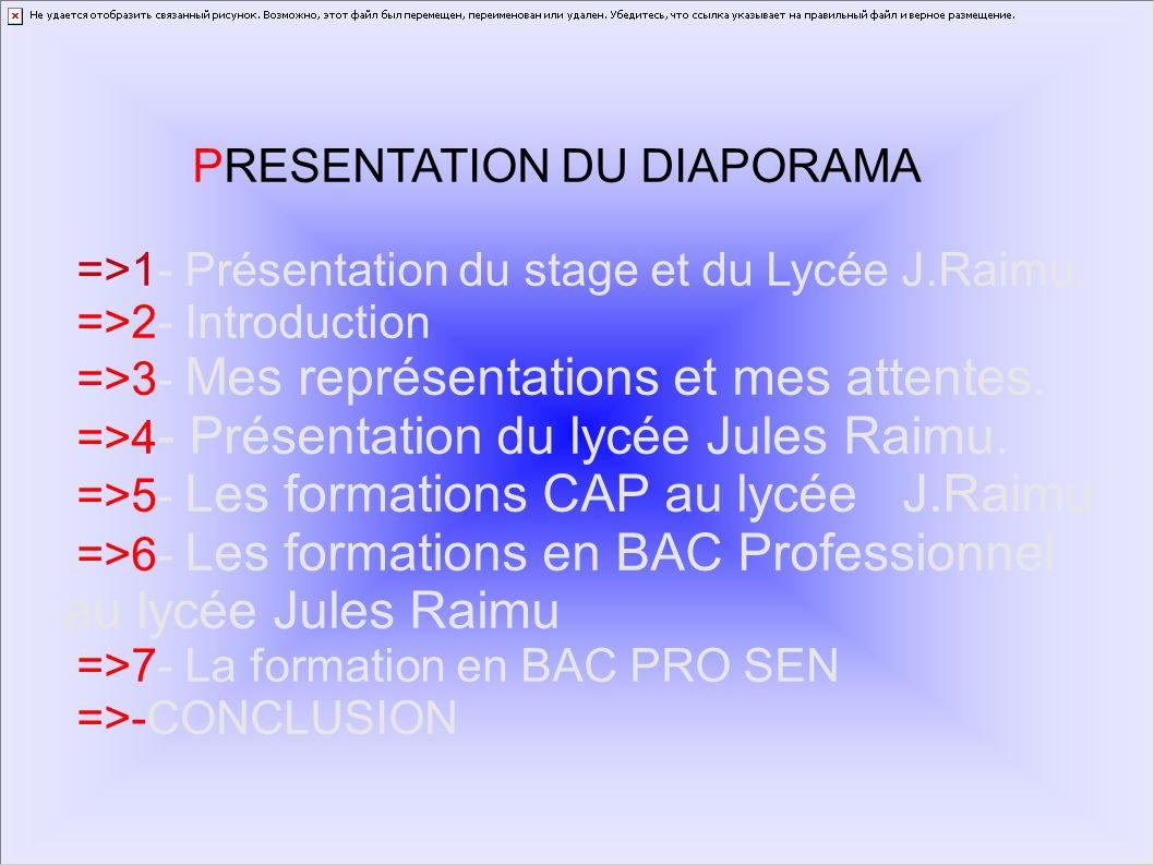 PRESENTATION DU DIAPORAMA =>1- Présentation du stage et du Lycée J.Raimu. =>2- Introduction =>3- Mes représentations et mes attentes. =>4 - Présentati