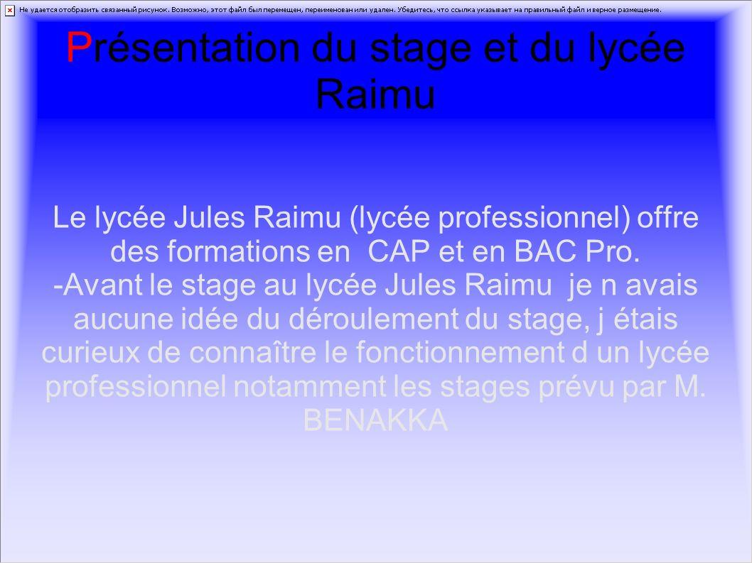 Présentation du stage et du lycée Raimu Le lycée Jules Raimu (lycée professionnel) offre des formations en CAP et en BAC Pro. -Avant le stage au lycée