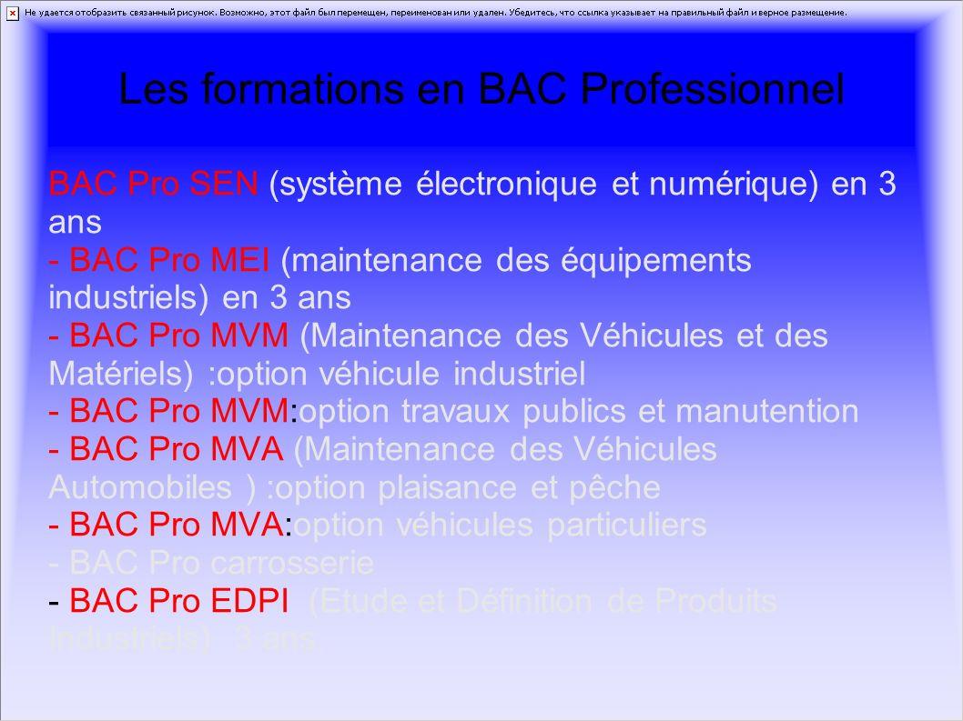 Les formations en BAC Professionnel BAC Pro SEN (système électronique et numérique) en 3 ans - BAC Pro MEI (maintenance des équipements industriels) e